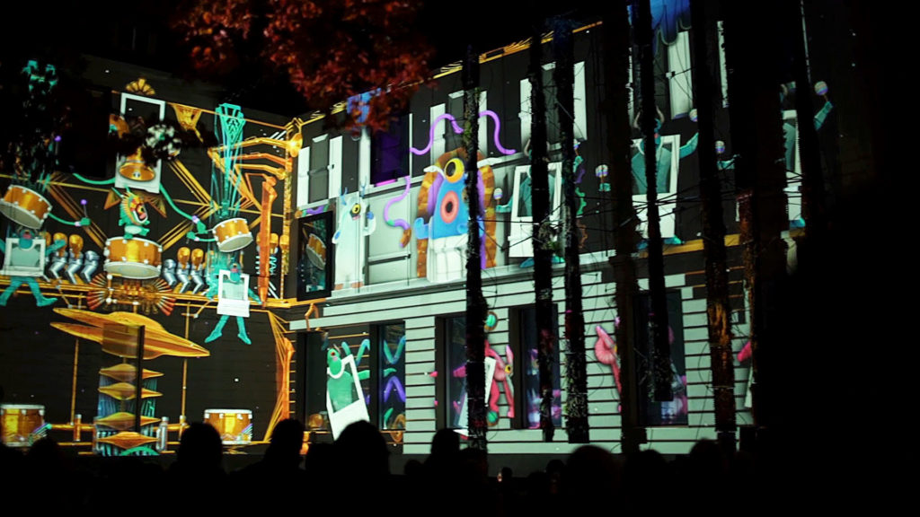 christmas mapping Basel scene